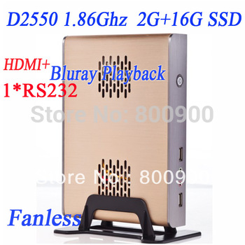 hot sale mini pc with HDMI fanless alluminum chassis intel atom dual core four thread D2550 1.86Ghz cpu include 2G RAM 16G SSD