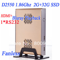 2013 new arrival mini pc with rs232 2G RAM 32G SSD intel atom dual core four thread D2550 1.86Ghz cpu alluminum fanless chassis
