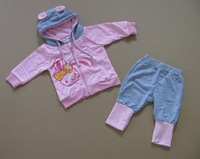 NEW Arrive baby suit cute Spring/Autumn children clothing set cotton pink and blue kids sport leisure suit baby wear