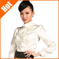 2013 women slim satin outfit chiffon shirt  fashion Elegant summer new Blouses lady high quality Blouse 10 colors