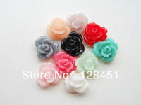 Free shipping Resin Rose Flower--100pcs 8mm mix color Rose Flowers Cabochons Cameo Base Setting