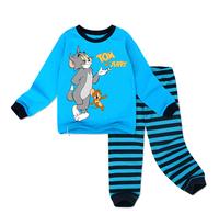 free shipping boys spring fall striped cartoon pajamas baby cotton clothing children's sleepwear set 6 sizes