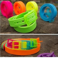 Wholesale   Mix 31colors  Womens Adjustable Casual Rubber Vinyl Plastic Jelly Silicone Suit Belt Buckle 4cm  100pc /lot