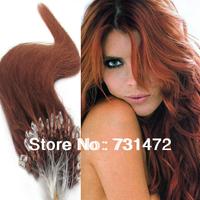 "Free Shipping Virgin Brazilian Factory Price AAA+18"" 20"" Remy 100% Human Hair Extensions Micro Loop 100S 0.5g/S #30 Light Auburn"