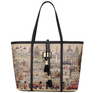 Free shipping new European and American style retro handbag, London carnival painting shoulder bags,fashion women winter big bag