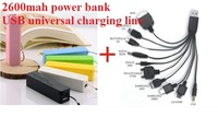 Free shipping Universal data line+External Battery 2600mAh Emergency USB Perfume Power Bank Charger for Various phone Mobile