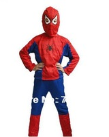 Hot Sale Halloween party accessary Spiderman Cosplay Kids Costume Set Free Shipping