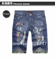 2013 New arrival fashion young man short  brand jeans distrressed