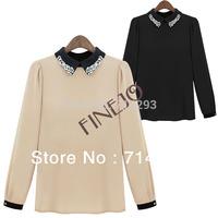 Women's European Style Doll Collar Chiffon Shirt Long Sleeve Leisure Top Blouse drop shipping 13533