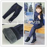 cartoons children winter 5pcs/lot 2012 kids girls jean bow pants, cotton cashmere pants, elastic waist legging warm pants winter