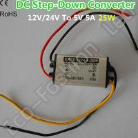 DC-DC Car Converter Step-Down Buck Module 12V/24V/36V to 5V 5A 25W  Input: 12/24V, Output: 5v  5A