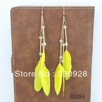 Min. order $10 2013 fashion cheap feather earrings pendant  long gold plated crystalwholesale Free shipping
