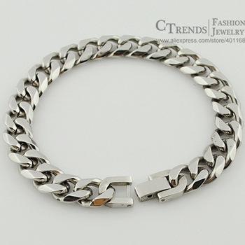 21cm, 10mm,  Модный Silver Stainless Steel Mens Bracelet Jewellery Cool, Rock, Кожа ...