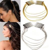 2013 New Women Chic Hair Cuff Pin Head Band Chains 2 Combs Tassels Fringes Boho Punk Hair Jewelry 34455