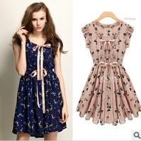2014 New Design Slim Fashion Women Summer Dress Animal Printed Vintage color Chiffon Casual Novelty Dress S-XL
