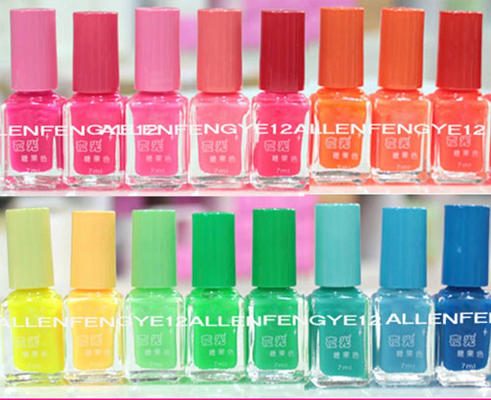 10pcs/lot Candy Color 20colors Popular Luminous Nail Polish Fluorescent Nail Art nail Enamel(China (Mainland))