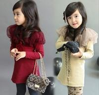 Free Shipping Children's 2012 autumn girl Dress girls yarn collar shawl dress long T Shirt 5pcs/lot