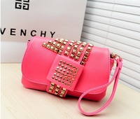 Free shipping 2013 trend double layer rivet punk women's handbag shoulder bag clutch bag small day clutch bag