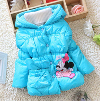 New Style Cartoon Blue/Pink/Red Thick Style Lovely Minnie Children Winter Clothes Cotton-padded For Girl  Free Shipping