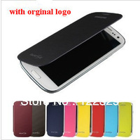 Free shipping flip leather Back cover cases  original battery housing case screen protector for Samsung Galaxy S3 SIII i9300