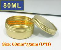 50Pcs/Lot 80ML D68mm*H35mm Golden Color Aluminum Cosmetic Box Cream Jar With Screw Cap Wholesale Free Shipping