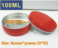 50Pcs/Lot 100ML D82mm*H28mm Red Color Aluminum Cosmetic Box Cream Jar With Screw Cap Wholesale