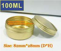 50Pcs/Lot 100ML D82mm*H28mm Golden Color Aluminum Cosmetic Box Cream Jar With Screw Cap Wholesale