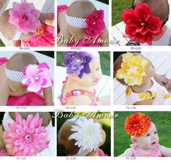 baby elastic hair headband big diasy flower diamond/rhinestone Christmas crochet acessorios cabelo #2B1999 10 pcs/lot (9 styles)