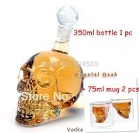 Free shipping Doomed Crystal Skull head Shot Glass vodka beverage bottle/cups , 1 pc 350ml bottle+ 2 pcs cups creative gift set