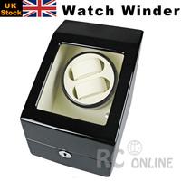 ALG Luxury Gift Black Wood Automatic Dual Watch Winder Display Box UK Stock no Custom Taxes