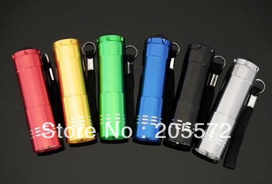 480 PCS/ LOT Fedex Free Shipping Display Box Package Small 9 LED Flashlight Torch(China (Mainland))