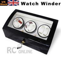 ALG LUXURY 6 Black Wood Automatic Watch Winder Box UK Stock no Custom Taxes