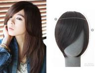 Real hair fake fringe hair extension piece repair long false natural fringe hair