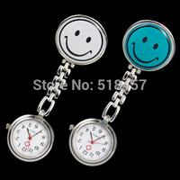 2PCS Simple Design Antique Smile Vintage  Pocket Watch Nurse Portable White Blue Free Shipping