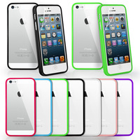 CLEAR HARD BACK SILICON TPU BUMPER COVER CASE FOR iPHONE 5 5G FREE FILM