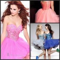 new 2014 custom made sweatheart pink sleeveless beading A-line Ruffles free shipping prom dress