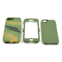 Hybrid Rocker Army Camo Three Layer Silicone PC Hard Case Cover For iphone 5 5G free shipping