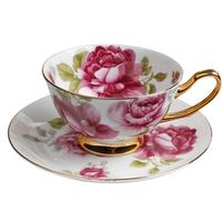 Bone china coffee cup saucer set classic European creative ceramic coffee making facilities suitMugFlowers Coffee Maker