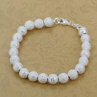 H145 Free Shipping 925 Silver Bracelet Fashion Jewelry Bracelet 8M Sand Pearl Bracelet atma jkta