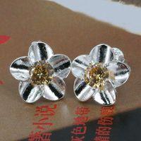 E178 Wholesale 925 silver earrings, 925 silver fashion jewelry, Yellow Stone Rose Earrings