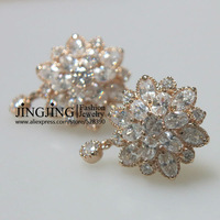 E100 Crystal Flower Drop Earrings 18K K Gold Plated Earring SWA ELEMENTS Austrian Crystal Wholesale CHAMPAGNE GOLD color