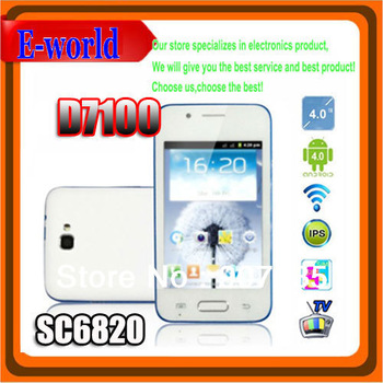 Hot sale cheap Free shipping Android 4.0 D7100 unlocked smart mobile phone 4.0'' IPS SC6820 1GHz Dual SIM TV WiFi Bluetooth