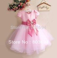 Wholesale 2014 new Korean Girl  bow Dress , baby Party Dress,princess dress,high-grade 6pcs/LOT  8977