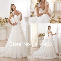 Free Shipping 2014 Cap Sleeve Alencon Lace Applique Open Back Court Train Princess Wedding Dress