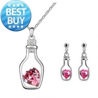 Accessories set girls gift wishing bottle stud earring necklace 2 piece set