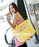 2013 New Fashion Korea Design Women Transparent Lace Handbag Beach Totes Jelly Bag Girl Candy Bag