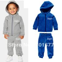 2013 winter 2 pcs brand logo fleece villi hooded  tops + pants sportswear kids casual wear sweat suit children clothing set 6#
