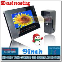 """Slim 9"""" Auto Recording Video Door Phone Door Bell Intercom System Home Security with Waterproof Camera 1v1"""