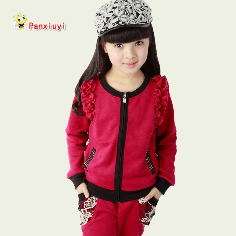 13 female child spring medium-large female child casual sportswear set 2013 child cardigan spring and autumn(China (Mainland))