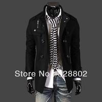 New 2014 Autumn Men's Trench Polo Fashion men's leisure trench coat long coat men overcoat winter men black gray